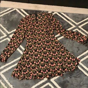 Floral black and pink long sleeve ruffle dress